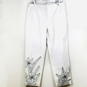 Talbots Pants 10 Ivory Embroidered Black Flowers